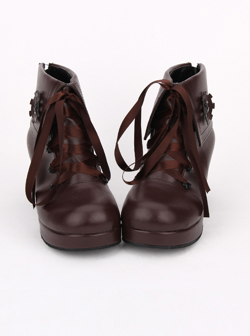 Brown Gear Decoration Lace-up Lolita High Heel Short Boots