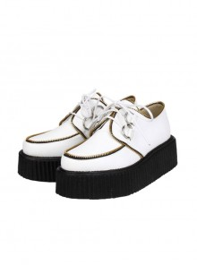 Punk White Zipper Decoration Lace-up Lolita Platform shoes