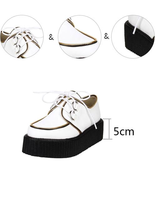 Punk White Zipper Decoration Lace-up Lolita Platform shoes