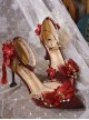 Gorgeous Red Chinese Style Classic Lolita Pointed Toe High Heel Shoes