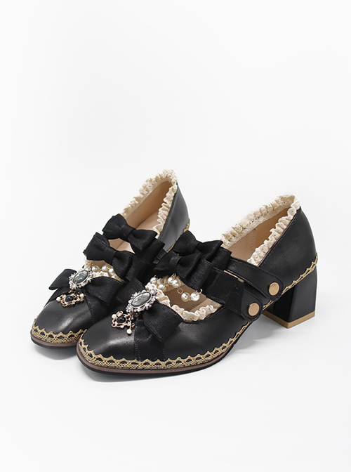 Thick Heel French Retro Square Toe Mary Jane Shoes Classic Lolita Shoes