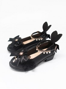 Black PU Bowknot Rabbit Ears Sweet Lolita Thick Heel Shoes