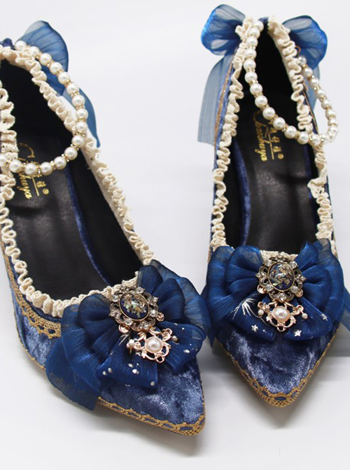 Pointed-toe Dark Blue Suede Classic Lolita Thin High Heel Shoes