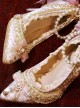 Exquisite Rose Pendant Pink Pointed-toe Classic Lolita pink High Heel Shoes