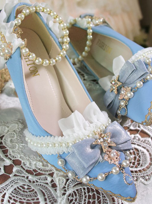 Light Blue Suede Exquisite Pearl Decoration Classic Lolita High Heel Shoes