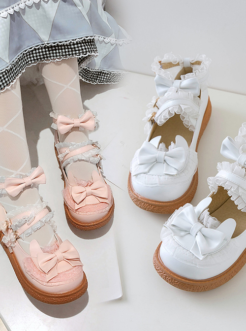 Cute Bowknot Round-toe Rabbit Ears Sweet Lolita Flat Shoes