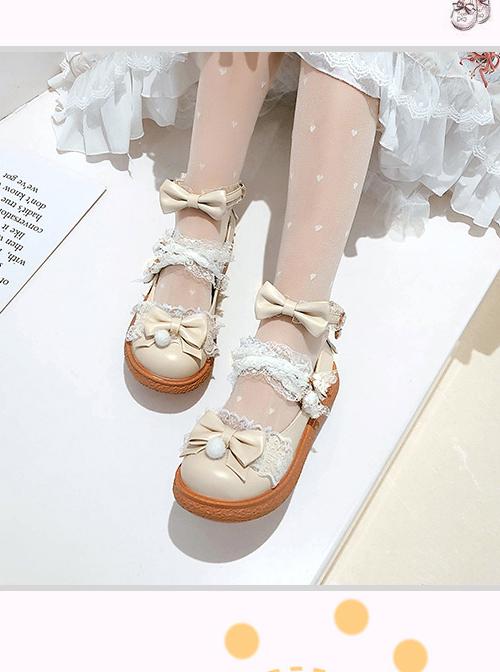 Round-toe Small Pompom Pendant Cute Bowknot Sweet Lolita Flat Shoes