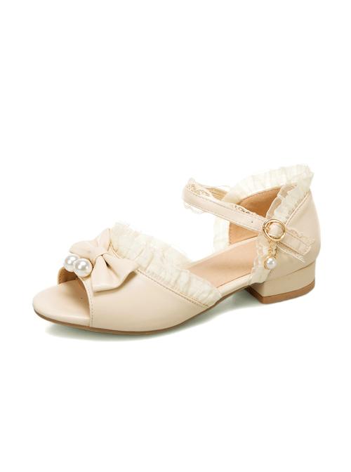 Pearl Pendant Bowknot Sweet Lolita Summer Peep Toe Sandals