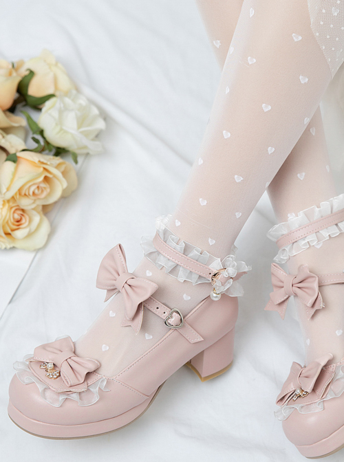 Bowknot White Frills Sweet Lolita Easy Matching High Heel Shoes