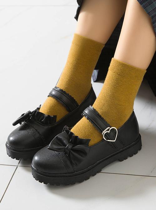 Bowknot Round-toe School Lolita Easy Matching Uniform Shoes