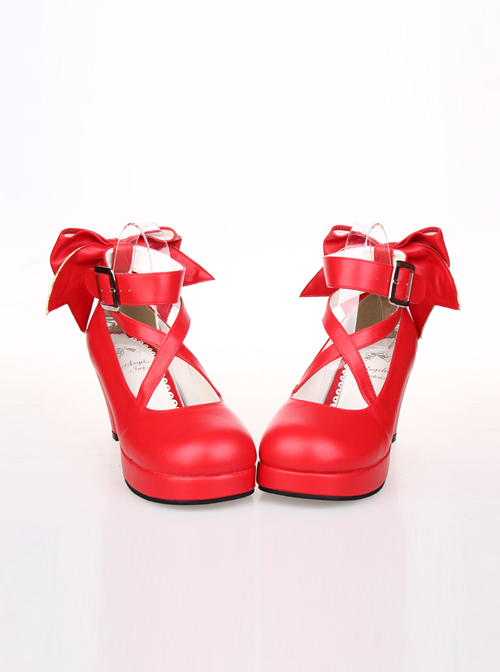 Pure Color Cute Bowknot Sweet Lolita High Heel Shoes