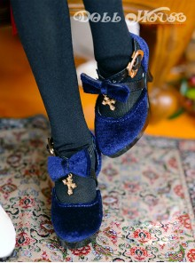 Velvet Cross Bowknot Classic Lolita High Heel Shoes
