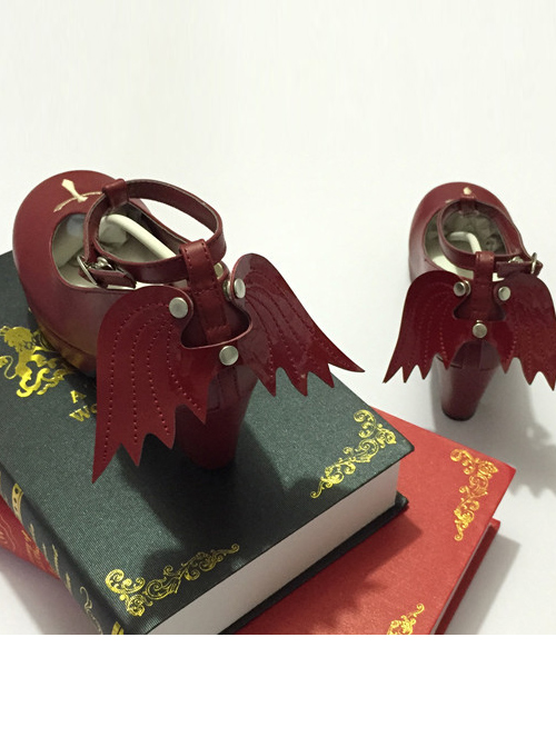 Angelic Imprint T-shaped Straps Gothic Lolita Heels Shoes with Detachable Angel Wings