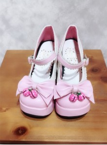 Pink And White Bowknot Small Bells Lolita High Heel Shoes
