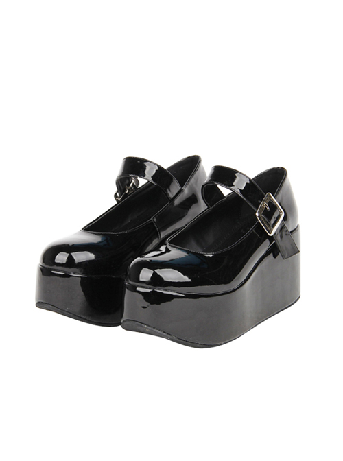 Black Little Round-toe Shallow Mouth Lolita High Heel Shoes