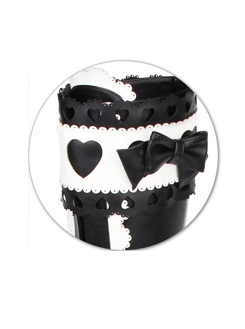 Black-white Sweet Lace Bowknot Heart-shaped Round-toe Lolita High Boots