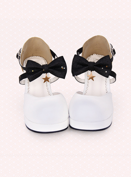 Round-toe Shallow Mouth Bowknot Star Pendant Lolita Shoes