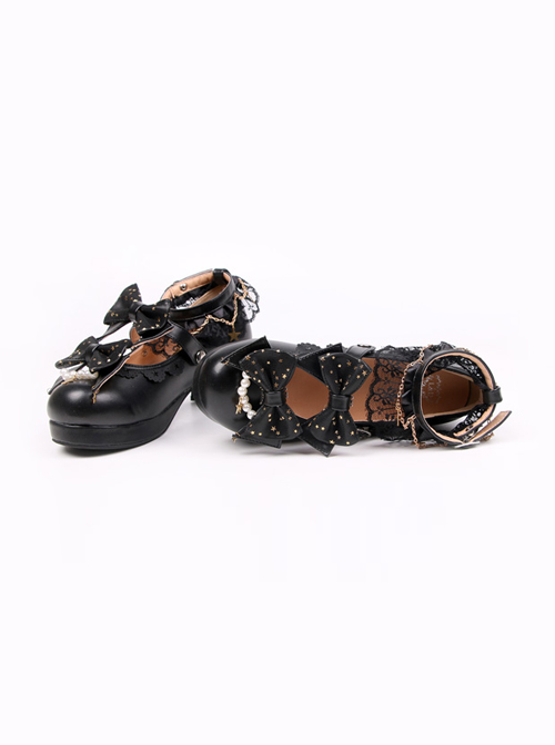 Stars Pendants Bowknot Lace Classic Lolita Heel Shoes