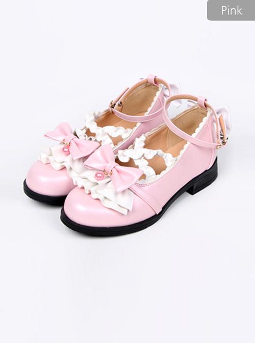 Cute Ruffle Bowknot Lolita Low-heel Shoes