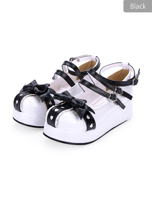 Round-toe Lace Bowknot Sweet Lolita Heel Shoes