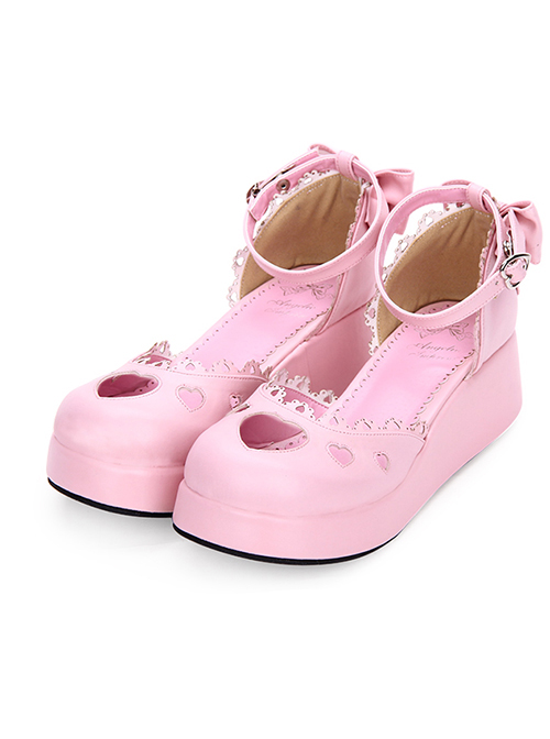 Round-toe Hollow Out Heart Decoration Sweet Lolita Pearlescent Thick Base Shoes