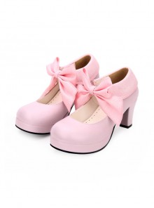 Round-toe Big Bowknot Sweet Lolita High Heel Shoes