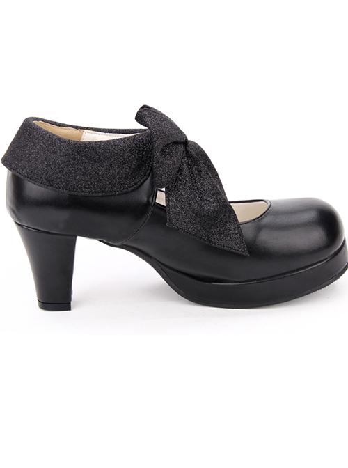 Round-toe Big Bowknot Sweet Lolita High Heel Shoes