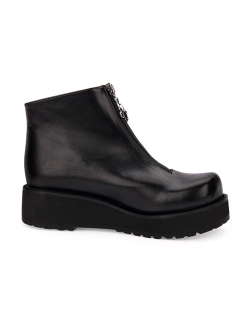 Punk Black Round-toe Zipper Gothic Lolita Boots