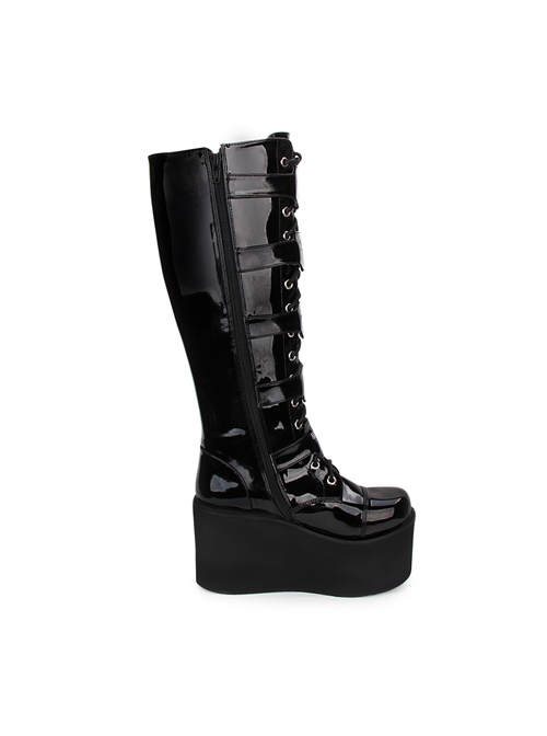 Punk Cross Black Patent Leather Gothic Lace-up Long Boots