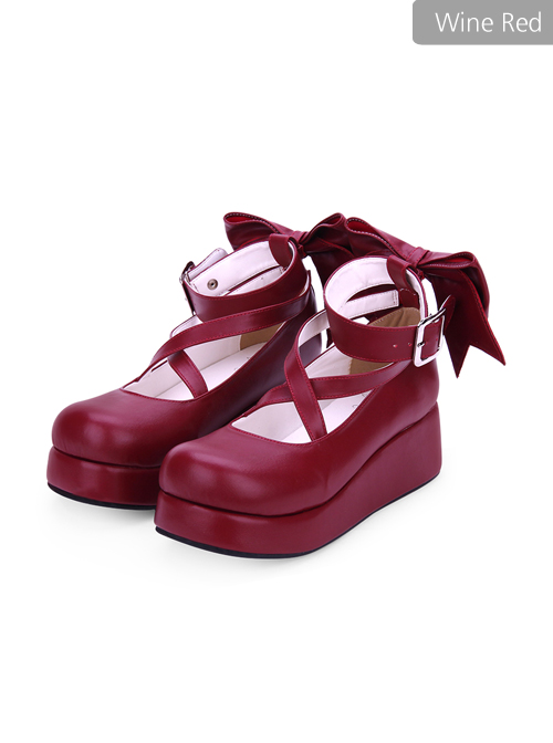 Round-toe Shallow Mouth Bowknot Cute Lolita Middle Heels Shoes