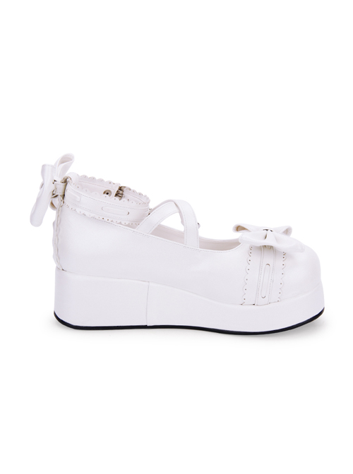 Cute Round-toe Shallow Mouth Bowknot Lolita Middle Heels Shoes