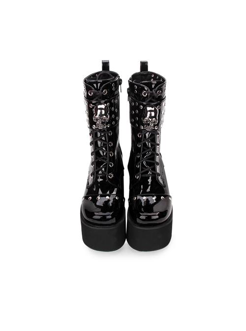 Thick Sole Black Punk Skull Decorative Side Zip Gothic Lolita Boots