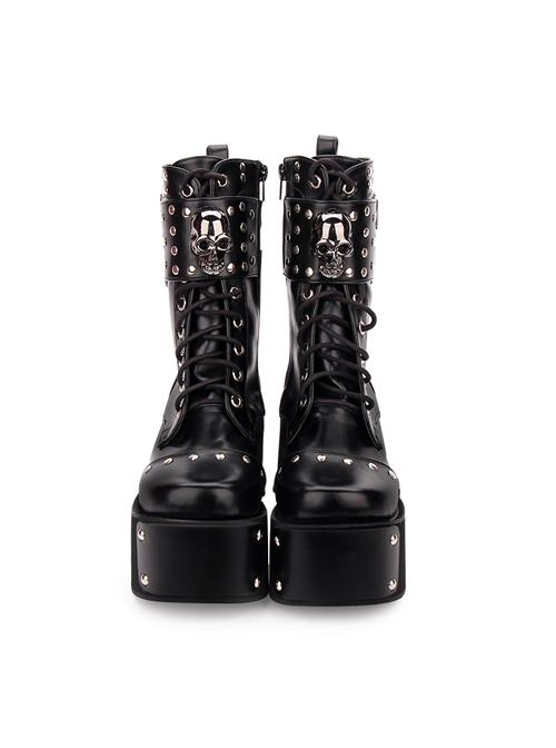 Punk Skull Rivet Black Gothic Lolita Boots