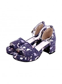 Dreamy Cute Fish Printing Round-toe Sweet Lolita Sandals