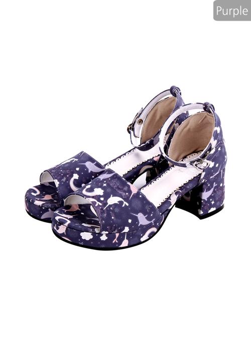 Dreamy Cute Fish Printing Round-toe Sweet Lolita Sandals