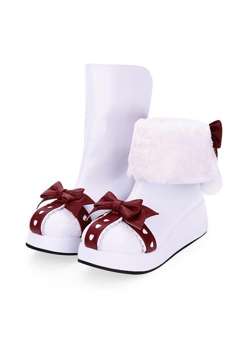 Round-toe Bowknot Plus Velvet Sweet Lolita Boots