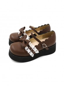 ea0b63d601dd Round-toe Bowknot Lace Ruffle Cute School Lolita Thick Sole Shoes