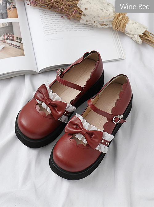 Round-toe Bowknot Lace Ruffle Cute School Lolita Thick Sole Shoes