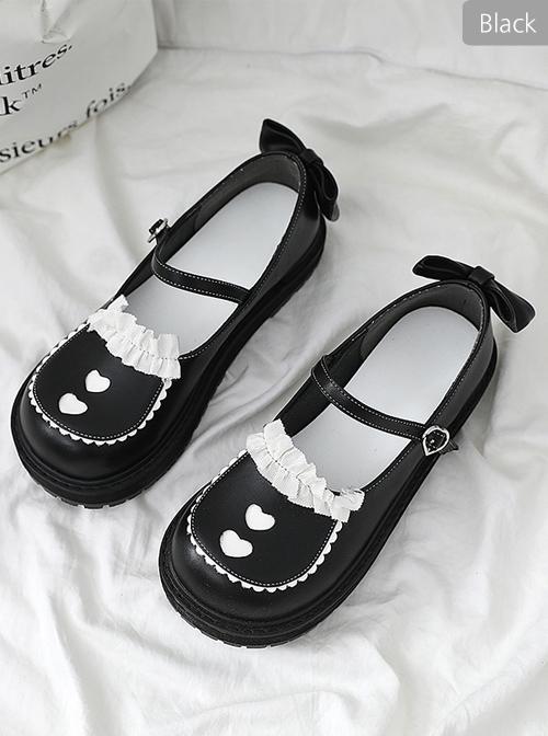 Cute Bowknot Ruffle Round-toe Black Sweet Lolita Shoes