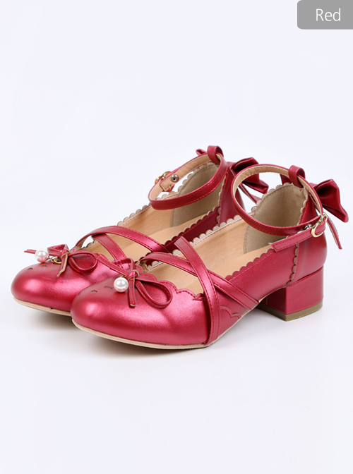 Pearlescent Color Bowknot Bead Pendant Sweet Lolita High Heel Shoes