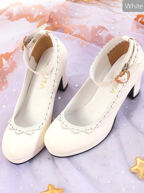 Pure White Or Black Round-Toe Elegant Classic Lolita Shoes