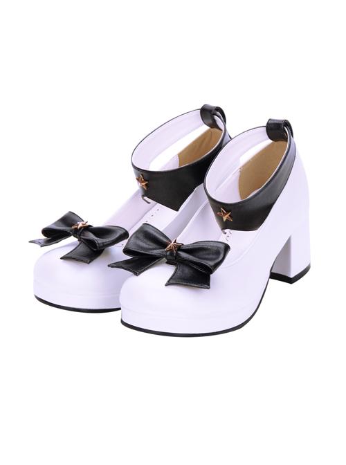 Round-toe Detachable Pentagram Bowknot Lolita Navy Shoes