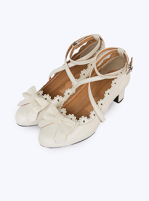Teenage Bowknot Crucifix Lace Classic Lolita High Heels Shoes