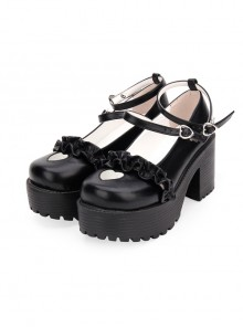 Round-toe Hollow Out Heart-shape Ruffle School Lolita High Heels Shoes