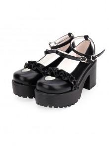 Round-toe Hollow Out Heart-shape Ruffle School Lolita High Heels Shoes