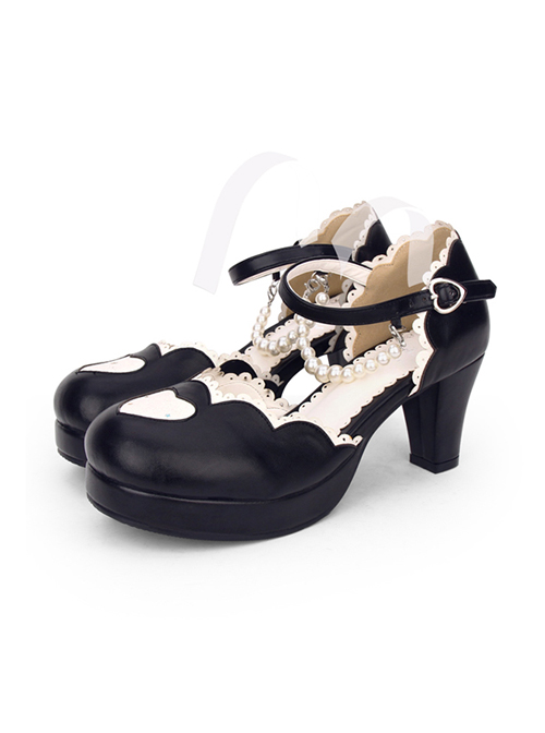 Round-toe Love Heart Lace Pearl Chain Sweet Lolita High Heels Shoes