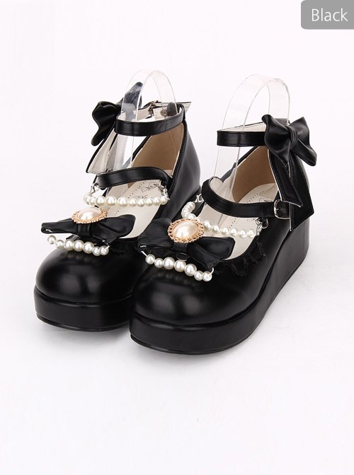 Round-toe Bowknot Pearl Chain Classic Lolita Shoes