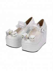 White Elegant Bride Bowknot Ornament Classic Lolita High Heel Shoes