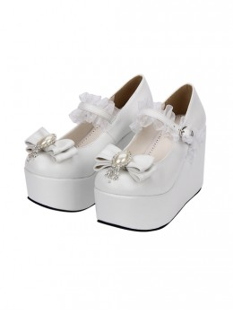 White Elegant Bride Bowknot Ornament Classic Lolita High Heel Shoes