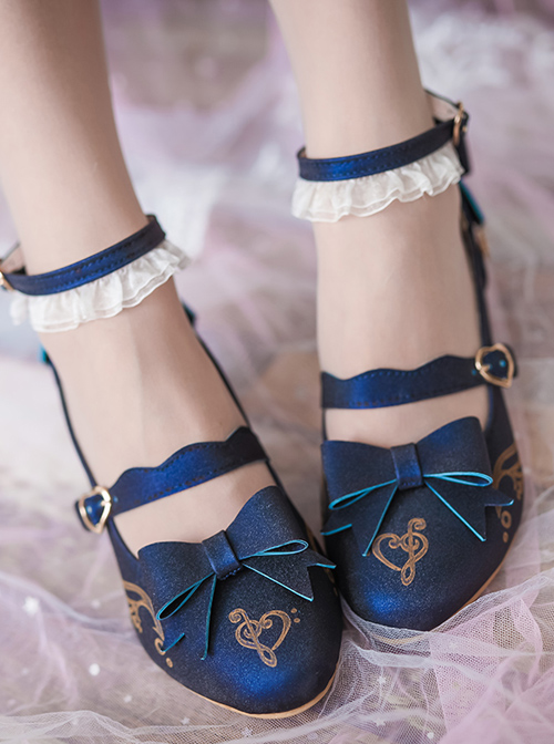 Musical Note Printing Bowknot Classic Lolita High Heel Shoes
